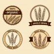 Set of four labels with hand drawn wheat ears — Stock Vector #68978317