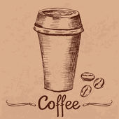 Template with hand drawn coffee paper cup — ストックベクタ