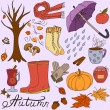 Set of doodle style autumn clothes, food, elements and symbols — Stock Vector #79389682