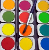 Watercolor paints and paintbrush — Stock Photo