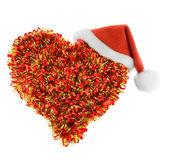 Santa hat in heart — Stock Photo