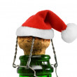 Santa Claus red hat in Champagne Bottle — Stock Photo #74068931
