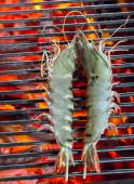 Barbecue Grilled prawns cooking seafood. — Stock Photo