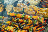Barbecue Grill cooking seafood. — Stock Photo