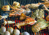 Assorted delicious grilled seafood Barbecue — Stock Photo