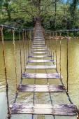 Bridge through mountain river — Stock Photo