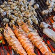 Shrimp seafood in BBQ Flames. — Stock Photo #76898003