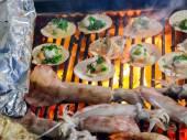 Mollusk Muschel Grill — Stockfoto