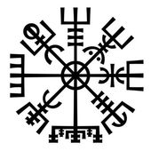Vegvisir. The Magic Compass of Vikings. Runic Talisman. — Vetor de Stock