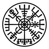 Vegvisir. The Magic Compass of Vikings. Runic Talisman (In The Ring). — Stock Vector