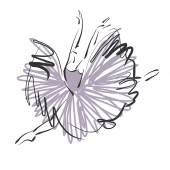 Art sketched beautiful young ballerina with long tutu in fly dan — Stockfoto