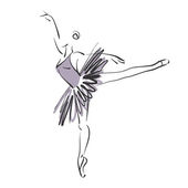 Art sketched beautiful young ballerina with tutu in ballet pose  — Stock Photo