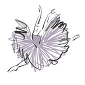 Art sketched beautiful young ballerina with long tutu in fly dan — Stock Photo