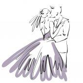 Arte abbozzato bacio bella giovani sposi sul retro bianco — Foto Stock
