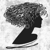 Art sketched beautiful girl face with curly hair and in profile  — Stock Photo