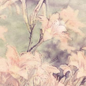 Art floral vintage sepia watercolor background with light coral — Stock Photo