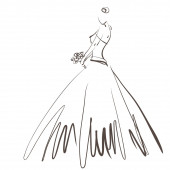 Art sketching beautiful young  bride with the bride's bouquet.Ve — Stock Photo