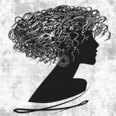 Kunst geschetst gezicht mooi meisje met krullend haar en in profiel — Stockfoto