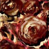 Art floral vintage blurred background with beige and red roses — Stock Photo