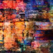 Art abstract acrylic and pencil background in rainbow colors — Foto de Stock