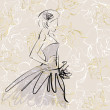 Art sketch of beautiful young bride with the bride's bouquet on — Stock Photo #53911315