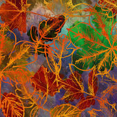 Art autumn leaves background in rainbow colors — ストック写真