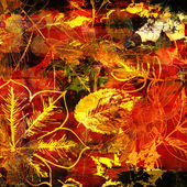 Art autumn leaves background in vibrant yellow, red and brown co — Stock Photo