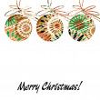 Art christmas balls in brown and rainbow colors with abstract pa — Stock Photo #58054909