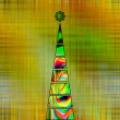 Art christmas tree in green and gold colors with abstract  waves — Stock Photo #58053899