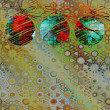 Art christmas balls in green, red and blue colors with abstract — Стоковое фото #58054053