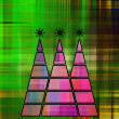 Art three christmas tree in pink, fuchsia and blue colors with a — Stock Photo #58054213