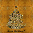 Art christmas colorful graphic abstract pattern  tree on golden — Stock Photo #58054517