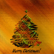 Art christmas colorful graphic abstract pattern tree on gold bac — Stock Photo #58054527