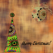 Art christmas colorful graphic tree and ball with abstract flora — Stock Photo #58054967