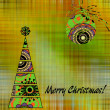 Art christmas colorful graphic tree and ball with green abstract — Stock Photo #58054977