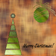 Art christmas colorful graphic tree and ball in green and gold c — Stock Photo #58054991