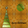 Art christmas colorful graphic tree and ball in green and gold c — Stock Photo #58055001