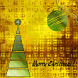 Art christmas colorful graphic tree and ball in green and gold c — Stock Photo #58055013