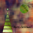 Art christmas colorful graphic tree and ball in green and gold c — Stock Photo #58055045