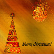 Art christmas colorful graphic tree and bal in gold and red with — Stock Photo #58055047