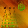 Art three christmas tree and ball in gold, red and green colors  — Stock Photo #58055273