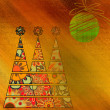 Art three christmas tree and ball in gold and red colors with ab — Stock Photo #58055307