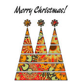 Art christmas three trees in green, gold and rainbow colors with — Stock Photo