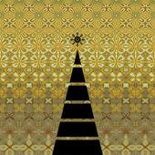 Art christmas graphic geometric black tree on beige vintage patt — Photo