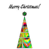 Art christmas tree in gold, green and rainbow colors with abstra — Stock Photo