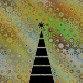 Art christmas graphic geometric black tree on beige, gold and gr — Stock Photo