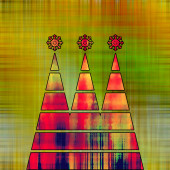 Art three christmas tree in green, gold, red and rainbow colors  — Stock Photo