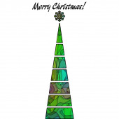 Art christmas tree in shades of green color with abstract patter — Stock Photo