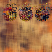 Art christmas balls in gold and rainbow colors with abstract pat — Stock Photo