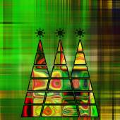 Art three christmas tree in green, gold and rainbow colors with  — Stock Photo